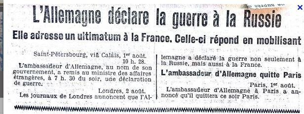 Vaillantitude: 1914 L'ALLEMAGNE DECLARE LA GUERRE A LA RUSSIE