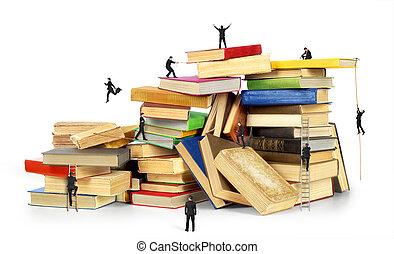 Vieilli, échelle, entiers, livres, bibliothèque. Vieux ...
