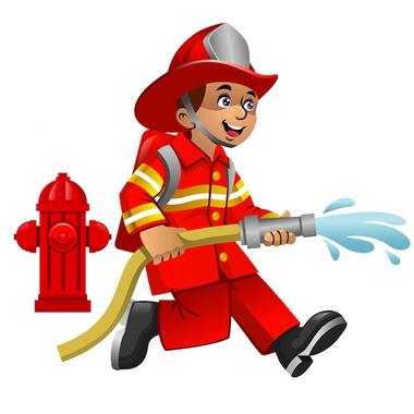 Dessin Animé Mignon De Pompier | Vecteur Premium
